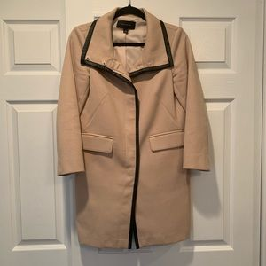 Leather trimmed topcoat